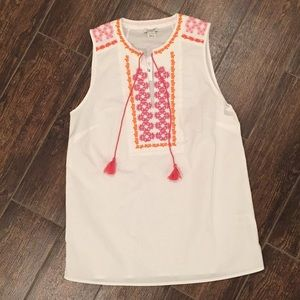 J. Crew Factory Tops - J Crew Factory Embroidered Sleeveless Tunic Top